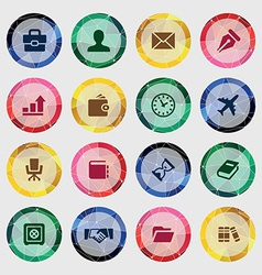 Set of business icons on colored circle vector