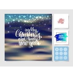 set of christmas decoration background snowflake vector image