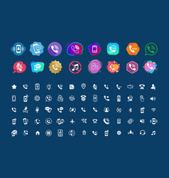 Set of different icons with phone for your site vector