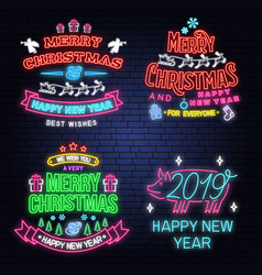 Set of merry christmas and happy new year neon vector
