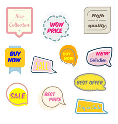 set of modern sale and promo stickers collection vector image