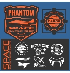 Set of space astronaut badges emblems labels and vector