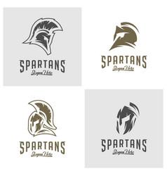 set of spartan logo sparta logo spartan helmet vector image
