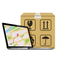 Shipping parcel gps tracking order design laptop vector