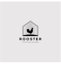 Silhouette rooster logo design vector