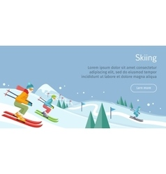Skiing Banner Skiers on Snowy Slope Competition vector