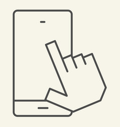smartphone with pointing hand thin line icon vector image