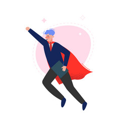 Super man in red waving cape flying successful vector