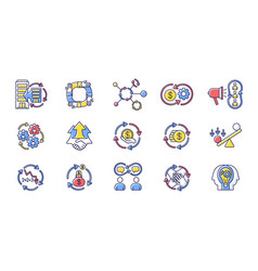 Synergy rgb color icons set vector