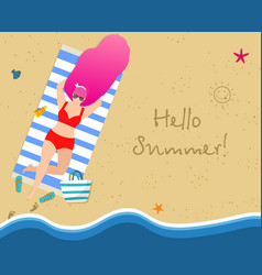 tanning woman on beach summertime leisure resort vector image
