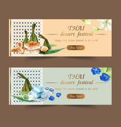 Thai sweet banner design with layered jelly vector