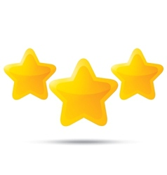 Three golden stars Star icons on white background vector image