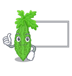 Thumbs up with board bitter melon isolated on a vector