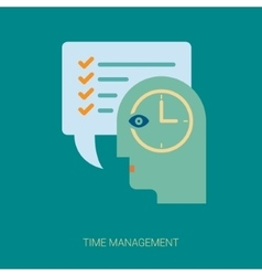 Time tracking and task management flat icons vector image
