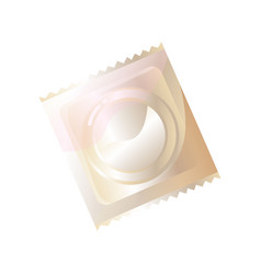 Transparent packing with latex condom isolated on vector