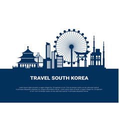 Travel to south korea poster silhouette seoul city vector