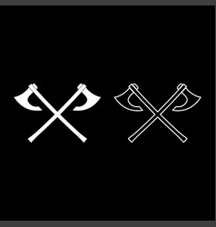 two battle axes vikings icon set white color flat vector image