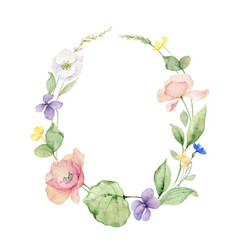 watercolor wreath with wildflower vector image
