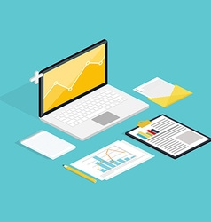 web of analytics process with laptop vector image