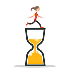 woman running on sand clock icon vector image
