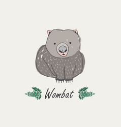 wombat isolated on white background hand drawn vector image