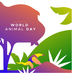 World animal day card wild jungle anteater vector
