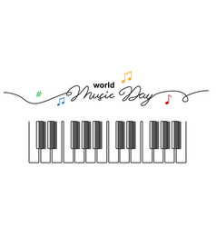 world music day sketch piano keys simple vector image