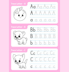 Writing letters tracing page worksheet for kids vector