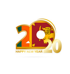 Year 2020 with sri lanka flag pattern happy new vector