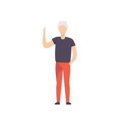 young man pointing with his forefinger up vector image