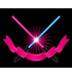 crossed light sabers vector image vector image