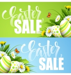 Easter sale background with eggs and spring flower vector