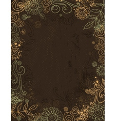 hand draw flowers on brown background vector image