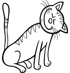 happy cat cartoon for coloring book vector image vector image