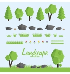 Landscape constructor icons set Trees stone and vector image vector image