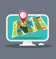 map icon on computer screen vector image