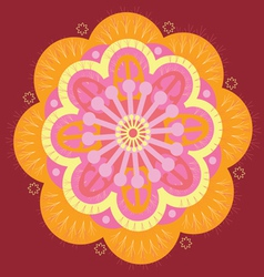 Orange floral mandala vector image