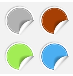 Set of colorful paper stickers on white background vector image