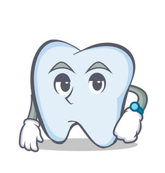 waiting tooth character cartoon style vector image