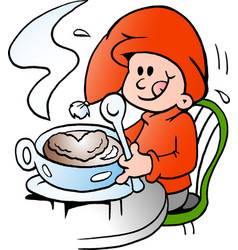 cartoon of an happy elf there is at a cafe vector image