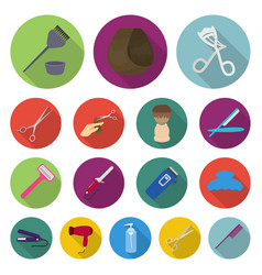 hairdresser and tools flat icons in set collection vector image vector image