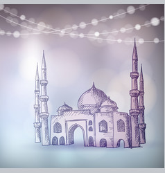 hand drawn sketch of the mosque with string of vector image