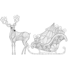 Reindeer with Sledges of Santa with Christmas tree vector image vector image