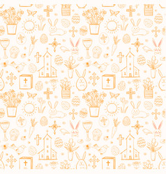 seamless pattern with easter doodle sketches vector image