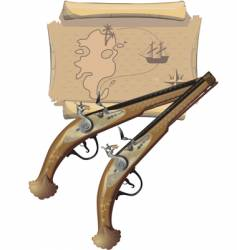 two pirates pistols and map vector image vector image