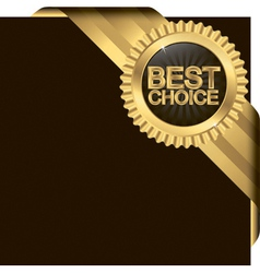 Best choice golden label with ribbons vector image vector image