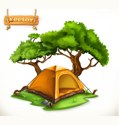 hiking dome tent camping 3d icon vector image vector image