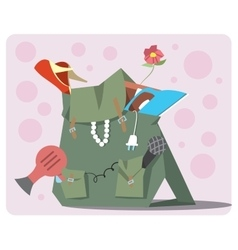 Backpack of the modern tourist vector image vector image