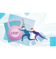 business man push weight credit debt finance vector image vector image