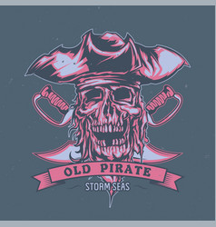 Dead pirate in hat vector